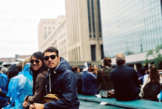 Couple on bench in city